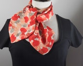Women's Neck Scarf, Red Print Scarf, Soft Georgette Scarf, Women's Scarves, Neckerchief, Scarflette, Women's Fashion, Handmade in the USA,