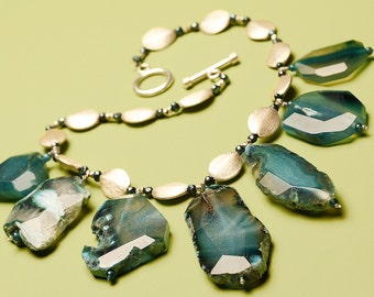 Statement Necklace Chunky Blue Agate and Sterling Silver Over Sized Choker