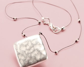 Pendant Necklace - Military Style Silver Square Choker Necklace