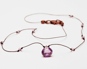 Purple Cubic Zircon Necklace with a Heart Shaped Amethyst Colored Stone