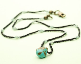 Turquoise Teardrop Necklace with Turquoise and Glass Microbeads