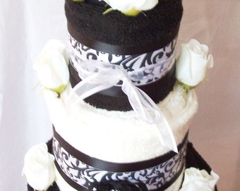3 Tier Black Licorice and Vanilla Bridal Shower Towel Cake