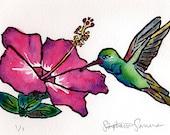 Hummingbird + Hibiscus -- matted original woodblock with watercolor