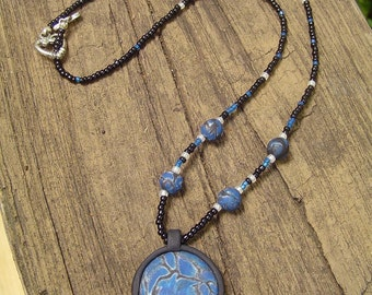 Polymer Clay Pendant Beaded Necklace - Blue Swirl