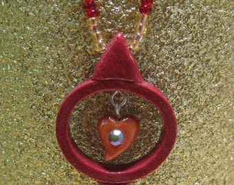 Polymer Clay Pendant Beaded Necklace  - Hope Hearts Circle of Life