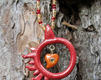 Polymer Clay Pendant Beaded Necklace - Hope Hearts Hot Sun