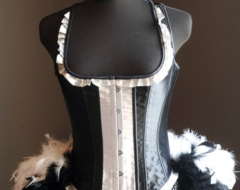 MADAME - Burlesque Moulin Costume Corset Rouge, Black White Tuxedo prom dress