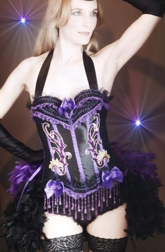 SHOWGIRL Saloon Girl Costume Corset Dress purple black Mardi Gras feathers