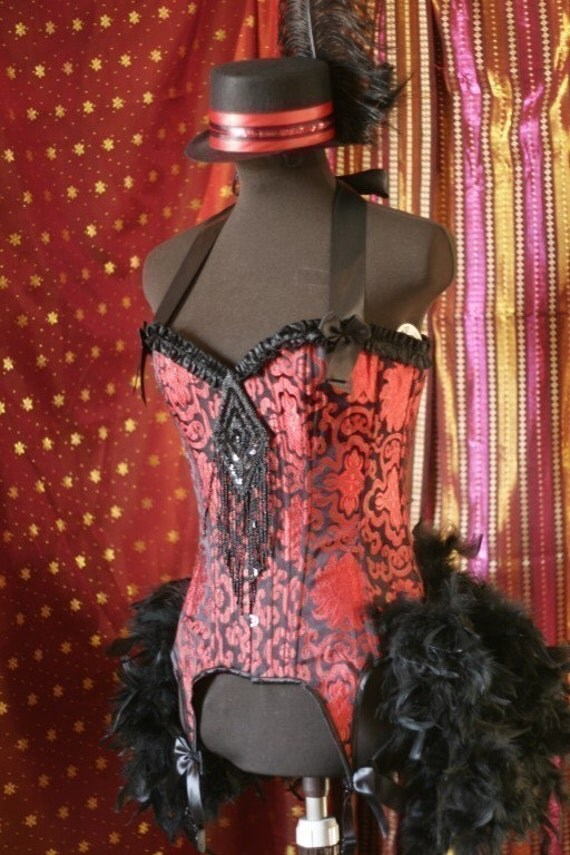 PALOMINO  Circus Ringmaster Day of the Dead Burlesque Corset Costume Red Black