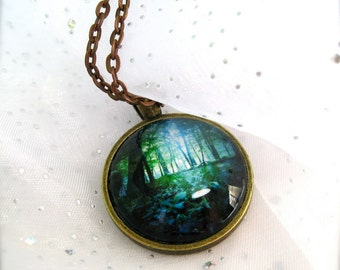Enchanted Forest art glass pendant, image of original artwork, your choice of artwork and finish