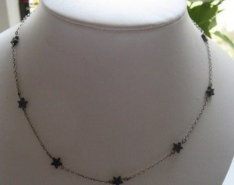 Silver Necklace with Hematite Stars