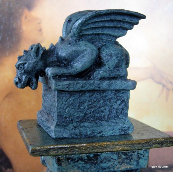 Stone Finish Verdigris Gargoyle dollhouse miniature in one inch scale for Garden, Wizard, Castle