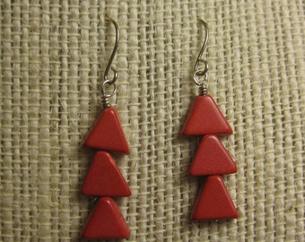 Geometric Jewelry, Coral Earrings, Red Stone Earrings, Arrow Earrings