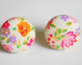 Pink Floral Fabric Button Earrings