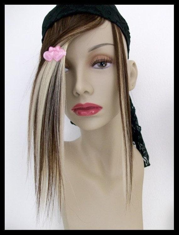 SALE LAST ONE Rich Brown/Platinum Blond Human Hair clip in fake fringe Bangs