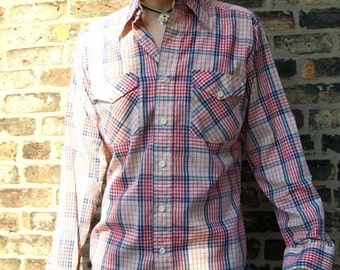 Vintage 70s Mens Gap Brand Plaid Button Down Long Sleeved Collared Shirt (sz M)