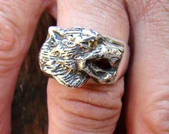 Wolf Ring - Sterling Silver Ring - 173