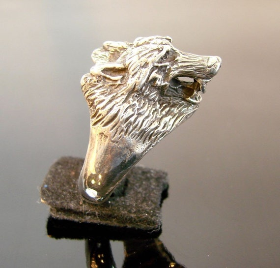 large wolf sterling silver ring 204