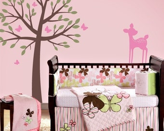 Tree Wall Decal, Nursery Wall Decals, Fawn Decal, Butterflies Wall Decals, Butterfly Bedroom Decor, Childrens Wall Decals, Baby Girl Nursery