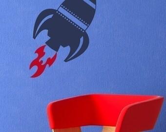 Rocket Wall Decal - Children Bedroom Decor - Playroom Wall Decal