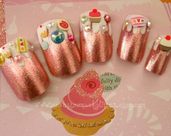 Candyland Fake Nails, Pink Foil Dessert Fantasy Kawaii 3D Sweets Nail Art, Japanese 3D Nail Art, Deco Nail, Kawaii Fake Nails, Pink Candy