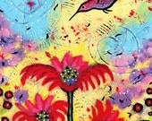 Mini Hummingbird Garden Print - Signed ACEO Art Card - One Lived In An Enchanted Garden