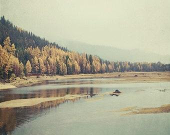 Autunno - 8 x 8 Fine Art Photograph - vintage style gold green mountain nostalgic lake landscape home decor print