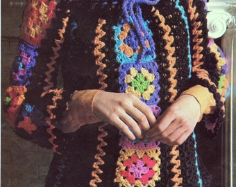 INSTANT DOWNLOAD PDF Crochet Pattern  Granny Square Motif Blouse Tunic Top 1970s Retro