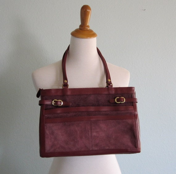 Vintage 80s Bag - Wine Red Leather and Suede Portfolio Style Handbag