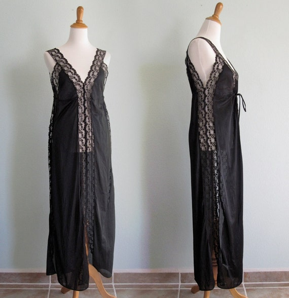Vintage 1980s Nightgown - Sexy Black Gown with Lace Sides and Empire Waist - 80s Film Noir Nightgown M
