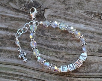 Girls Name Bracelet for Easter Sunday or Baptism - Personalized - Swarovski Crystal and Sterling Silver Block Letters, cross charm & accents