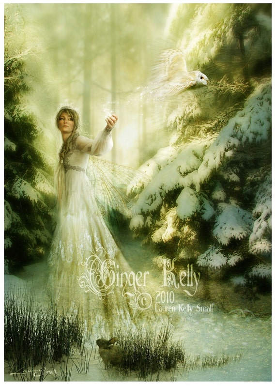SALE Winterspell Magic Winter Fairy Owl, A3 Art Print Fantasy Illustration, approx 11 x 16 inch