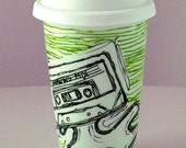 Porcelain Travel Mug Eco Cup Black White Cassette Tape Geekery green stripes Lines 80s kitch retro painted by sewZinski on Etsy