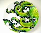 Ceramic Plate Green Octopus Kraken Sea Creature Nautical Decor Hand Painted Tentacles Wall Art Decorative Plate Upcycled - MADE TO ORDER