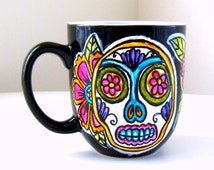 Sugar Skull Mug Day of the Dead Coffee Cup Folk Art Painted Tattoo Flowers pink orange turquoise black - MADE TO ORDER