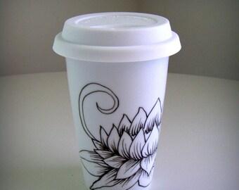 Porcelain Travel Mug Hand Painted Lotus Flowers Black White Asian Folk Art Eco Friendly Modern Ceramic to go cup 11oz 16oz - MADE TO ORDER