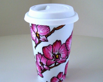 Ceramic Travel Mugs Pink Orchids Tropical Flowers Painted Flowers Botanicals Eco Friendly - MADE TO ORDER