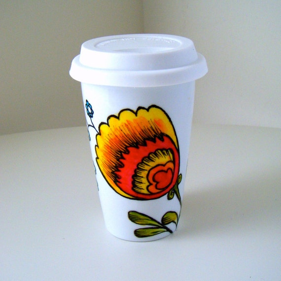 Ceramic Travel Mug Pop Floral Coffee Cup Polish Folk Art Flowers Orange Yellow Red Nature Botanicals Hand Painted - MADE TO ORDER