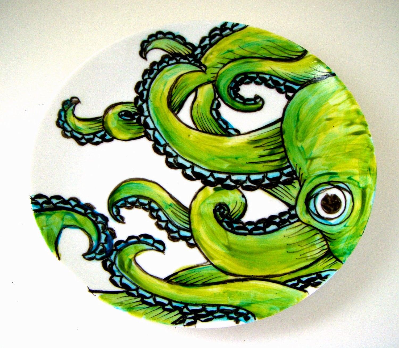 Ceramic Plate Green Octopus Kraken Sea Creature By Sewzinski