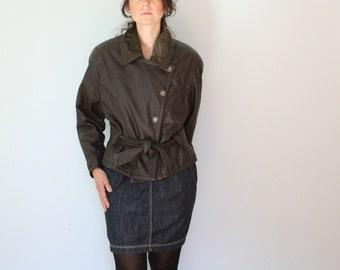 80s Brown Leather Bomber Jacket Biker Womens Medium Large