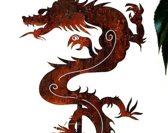 Chinese Dragon Metal Garden Art Stake-FREE SHIPPING- Home and Garden Decore Metal Sculpture
