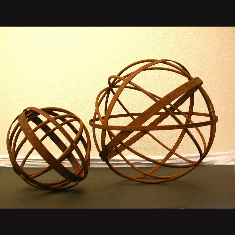 Garden Art Metal Sphere 14 Diameter Sculpture Home And
