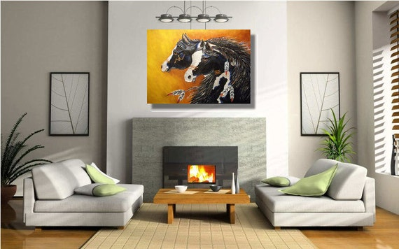 Piebald-Painted- Native American-tribal-Horses-Acrylic on Canvas