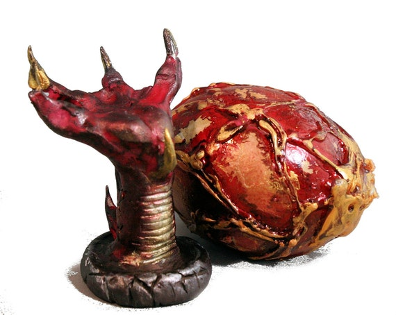 Red Dragon-Egg-Dragon Claw-Holder-By: TPowers