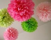Girl Fun .. 10 Tissue Pom Poms / Birthday / Wedding / Bridal Shower / Baby Shower / Room Decor / Party Decoration