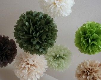 Earthy .. Wedding Decor / Ceremony / Bridal Shower Decor .. set of 7 Tissue Pom Poms