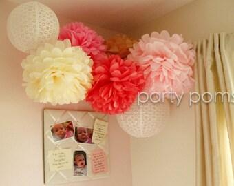 Custom Colors .. 15 Tissue Paper Poms / Party Decoration / Weddings / Bridal Shower / Nursery Decor / Babys Room Decor
