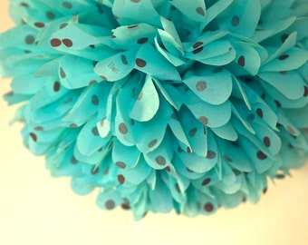 Aqua / Brown Polka Dot Tissue Pom Pom .. Wedding / Birthday / Baby Shower / Baptism / Party Decoration / DIY