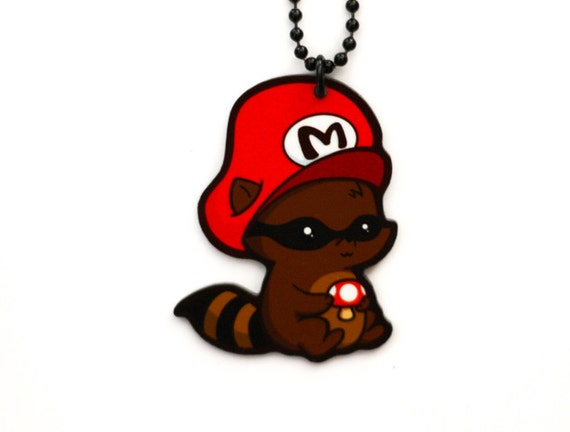 Mario the Raccoon Charm Necklace