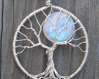 40mm Moon Tree Sterling Silver and Moonstone Pendant - Original Design by Ethora